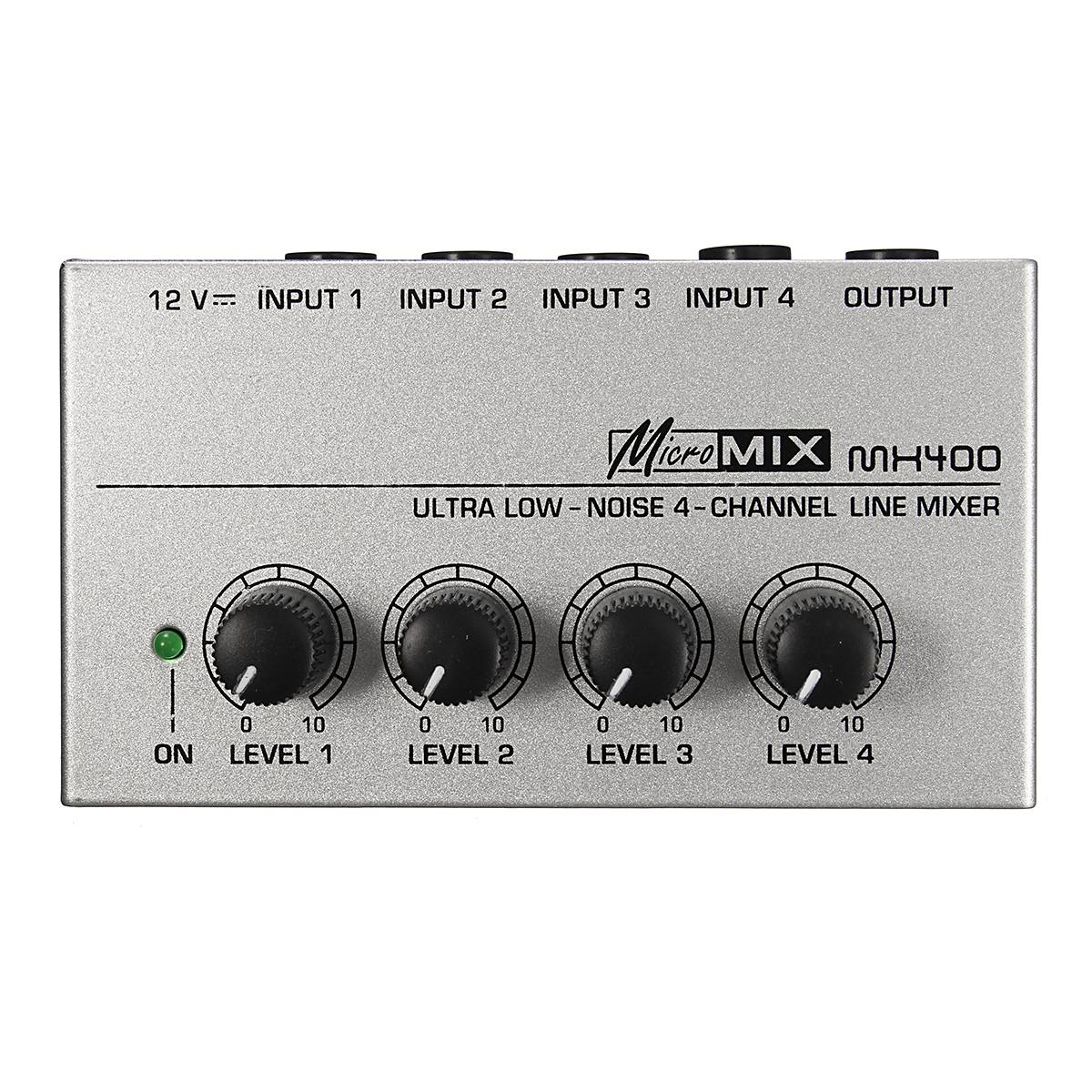 MX400 Ultra Compact Low Noise 4 Channels Line Mono Audio Mixer with Power Adapter