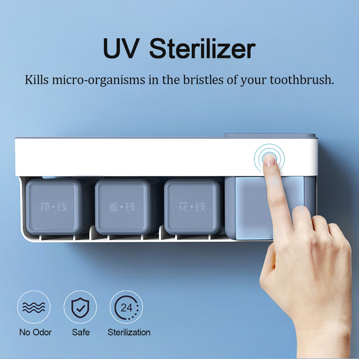 Toothbrush Holder UV Sterilizer Antibacterial Sanitizer Stor