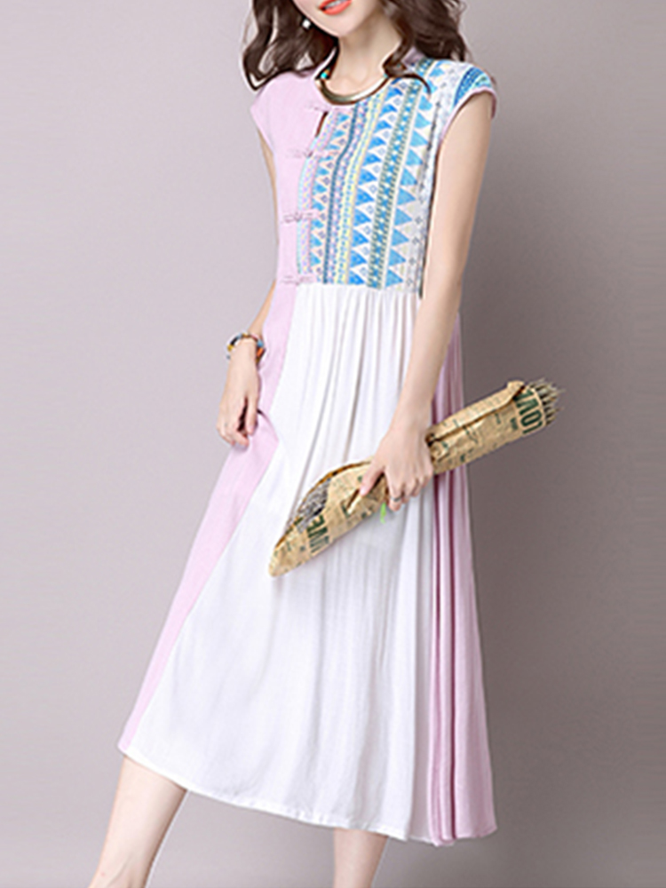 Women Sleeveless Plate Buckle Printed Patchwork Dresses