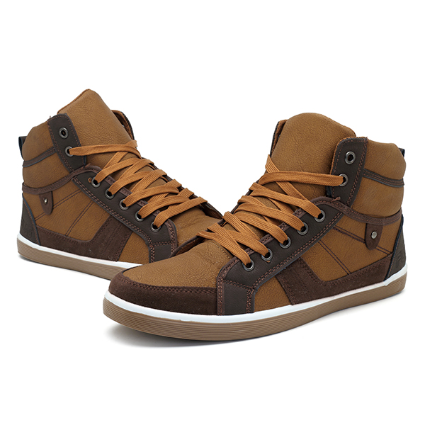 Men Comfy Canvas High Top Sneakers Lace Up Sports Shoes