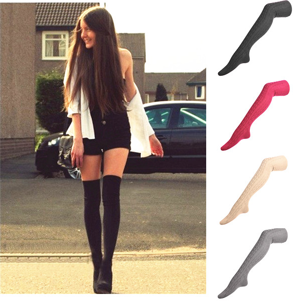 Women Lady Knitting Cotton Over Knee Thigh Stockings Pantyhose High Tight Legging Socks