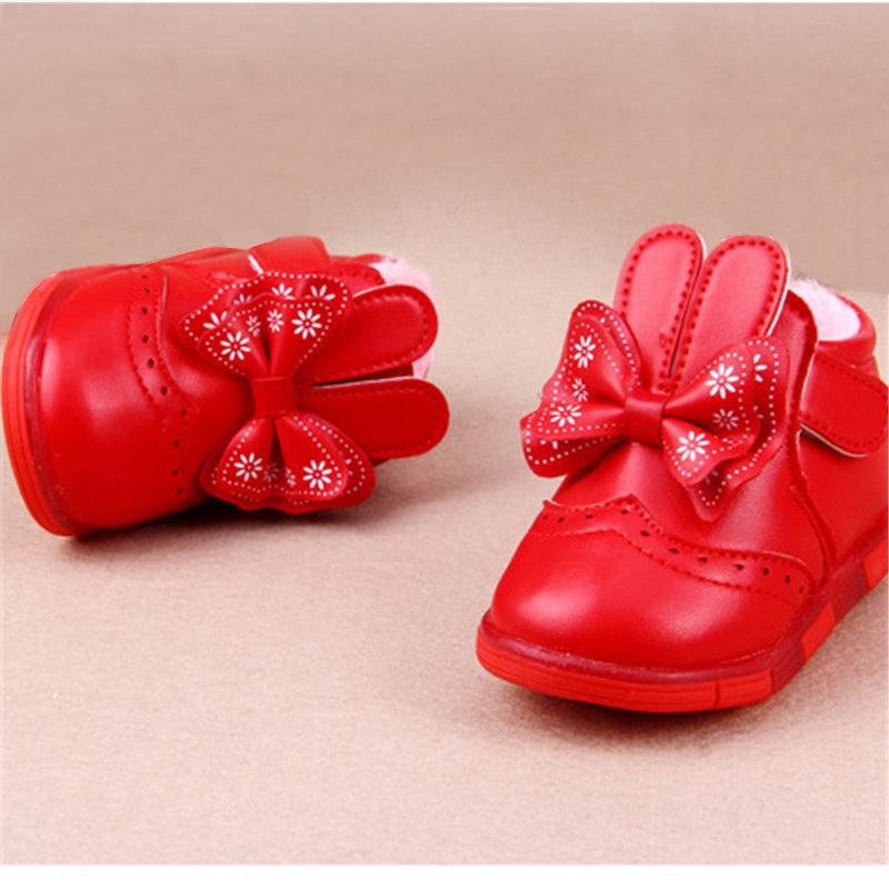 Winter Warm LED Shoes Snow Boots Flash Sneakers Princess Girls Kids Bowknot