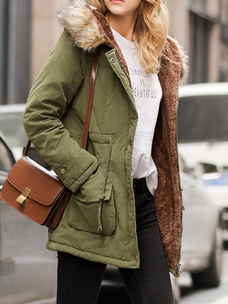 Winter Women Pure Color Fur Collar Hooded Thicken Coats