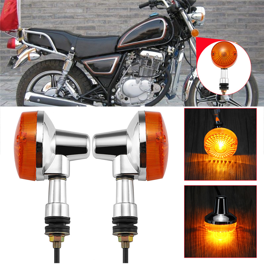 Pair Motorcycle Front Indicators Chrome Black Left Right Turn Lights for Suzuki GN125