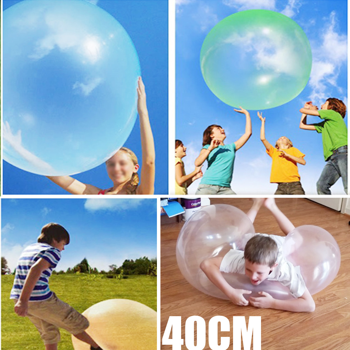The Amazing Tear Resistant 25cm WUBBLE Bubble Ball Kids Toy Inflatable Toys Outdoor Beach Play Toy