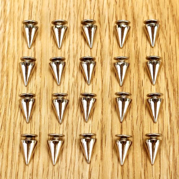 100PCS DIY Silver Metal Studs Cone Punk Spikes Spots Rivet 10*7mm