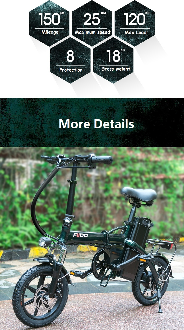 FIIDO L1 48V 250W 23.4Ah 14 Inches Folding Moped Bicycle 25km/h Max 150KM Mileage Electric Bike