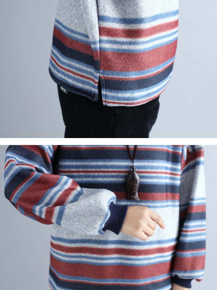 Plus Size Women Woolen Stripes Sweatshirts