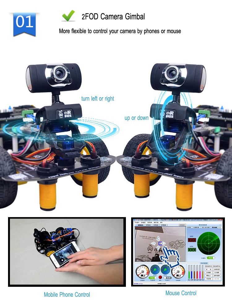 Xiao R GFS DIY Smart RC Robot Wifi Video Control Car with Camera Gimbal Raspberry Pi 3B+ Board