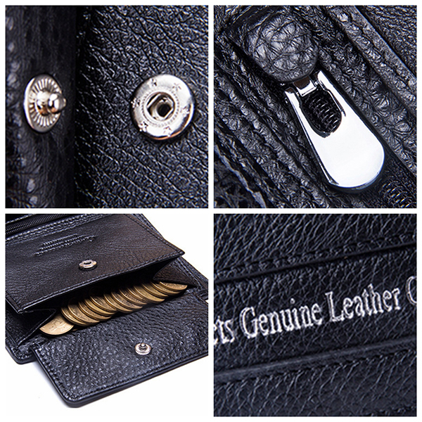 Men Retro Genuine Leather Large Capacity Trifold Wallet