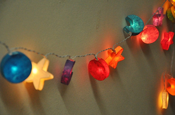 3M 20 LED Paper Moon Star String Lights for Party Christmas Kids Bedroom Decoration