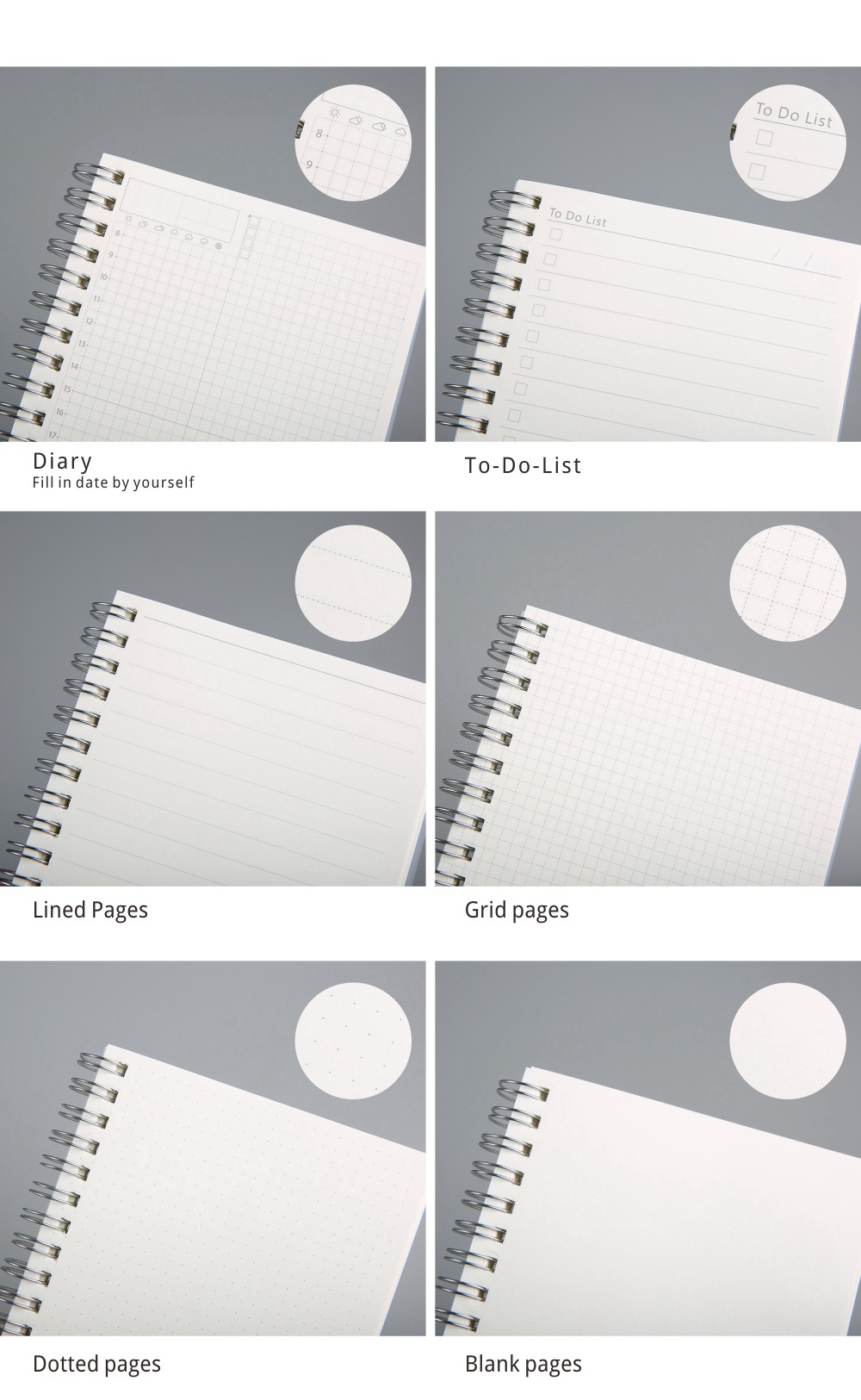 A5 Spiral Coil Notebook To-Do Lined Dotted Blank Grid Paper Journal Diary Sketchbook School Supplies
