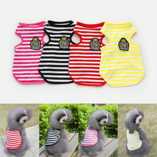 Cotton Striped Small Pet Puppy Dog T Shirt Vest Clothes Summer Apparel Costume