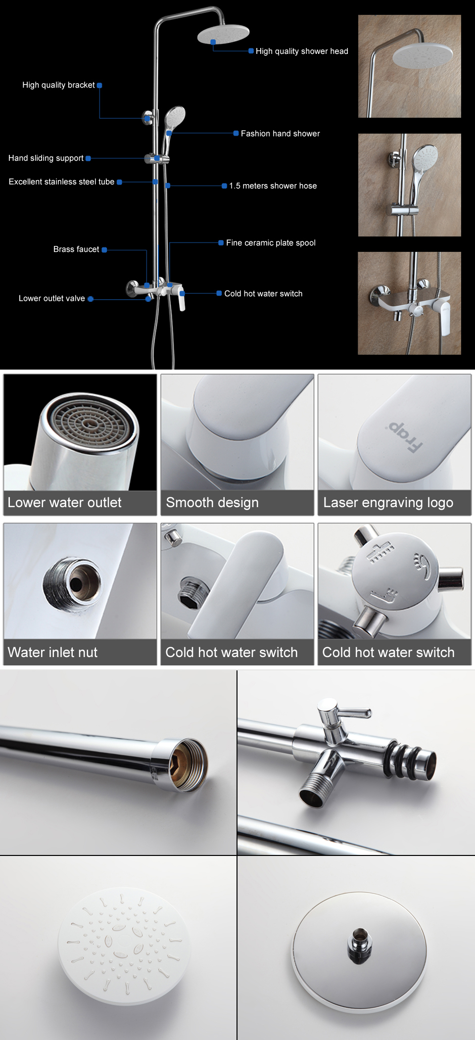 FRAP F2431 Bathroom Wall Mounted White Round Spray Rainfall Top Shower with Handheld Shower Head and Faucet Shower Sets