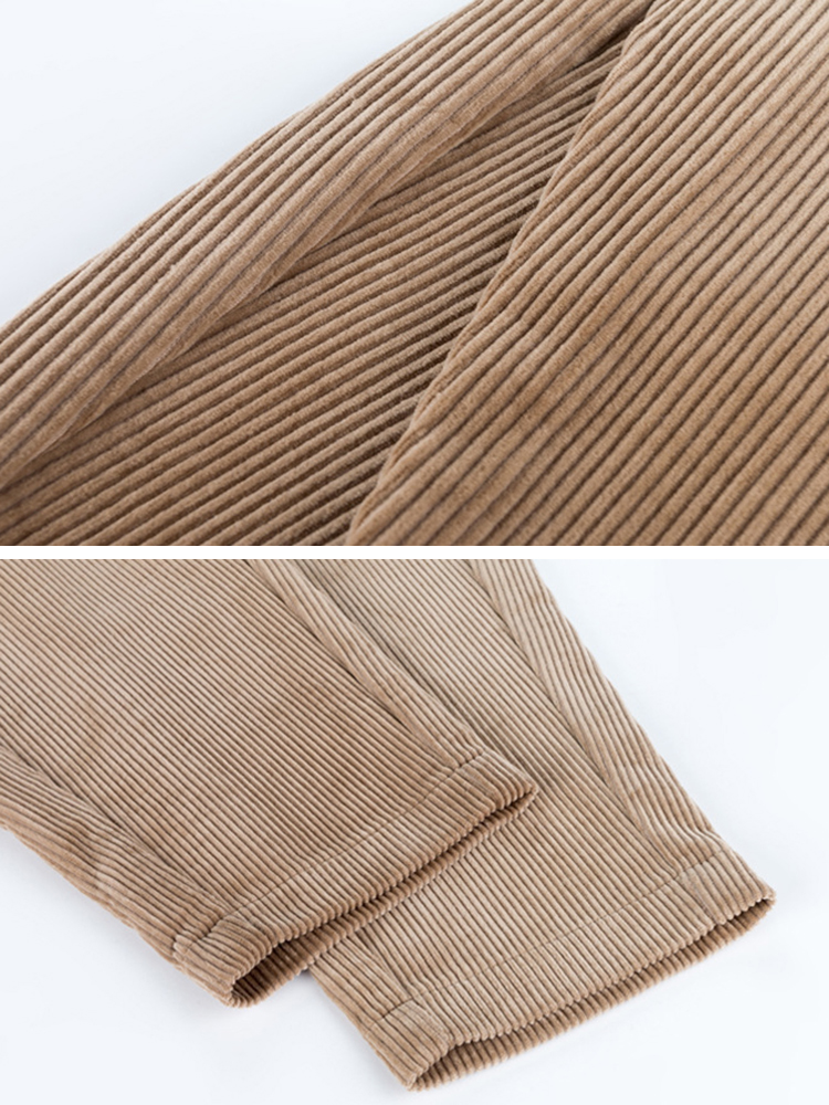 Casual Women High Waist Pockets Pure Color Corduroy Pant