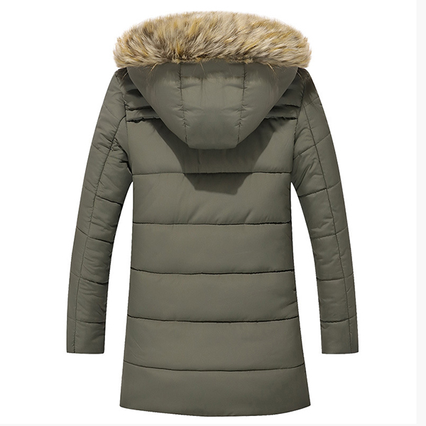 Mens Winte Mid Long Imitation Raccoon Fur Collar Warm Thick Outwear Cotton Padded Parka Jacket