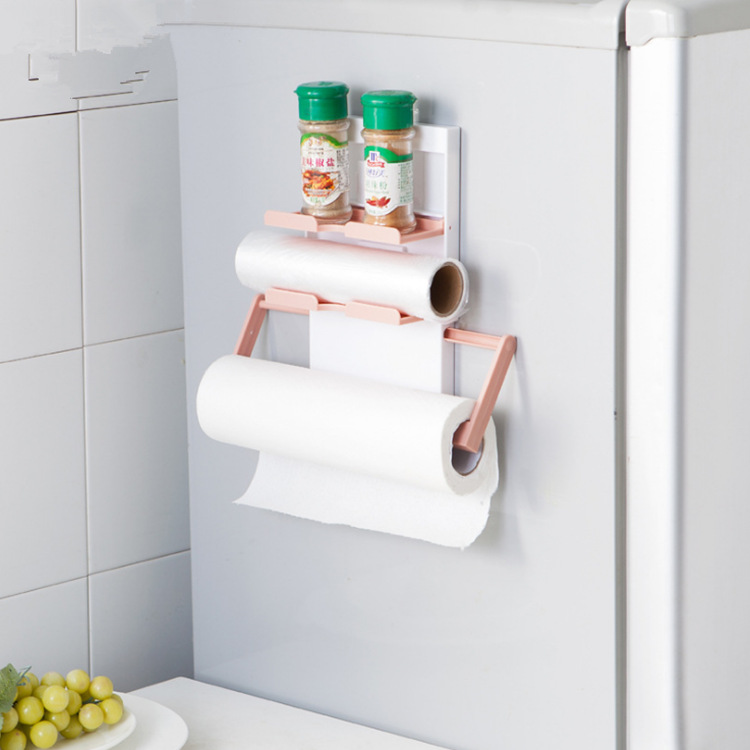 KCASA KC-SR09 Magnet Refrigerator Fridge Sidewall Paper Towel Holder Storage Rack Shelf Organizer