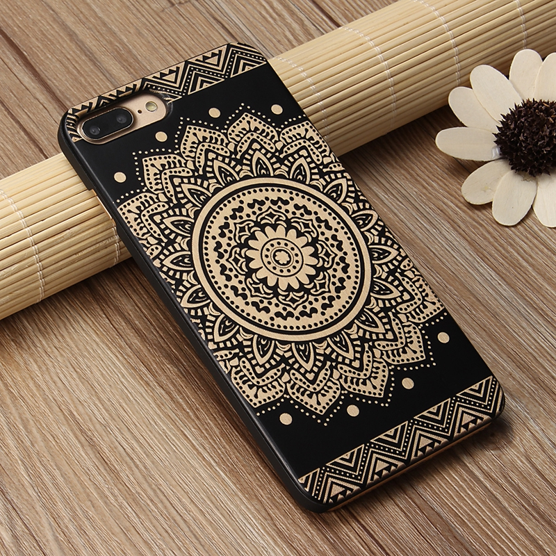 Natural Wood+PC Flower Mask Texture Shockproof Case For iPhone 7 Plus/8 Plus