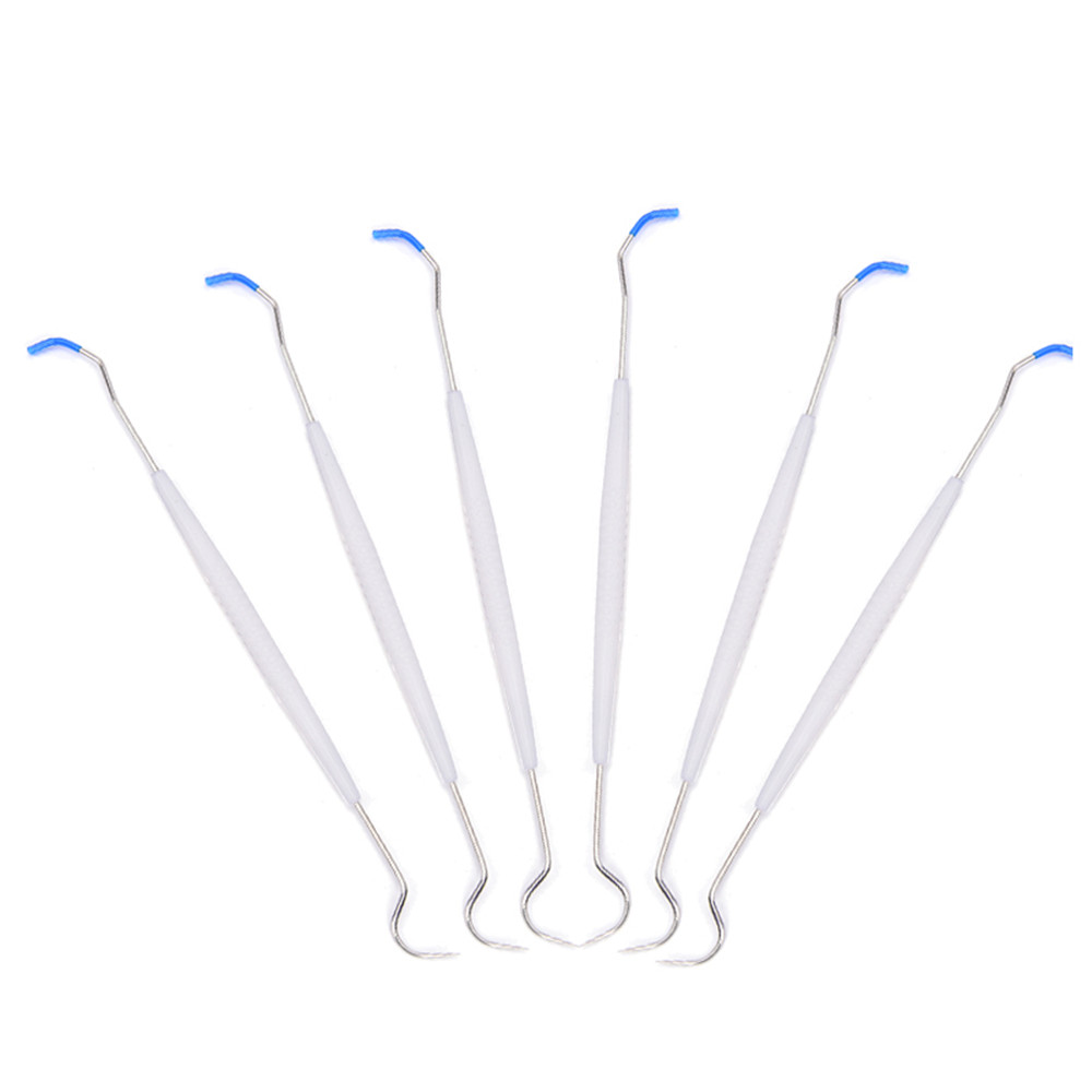 100pcs Stainless Disposable Double Hook Tooth Dental Explorer Dentist Probe Dentist Materials Tool