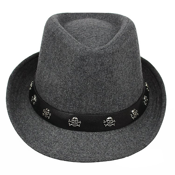 Mens Hat British Retro Skull and Crossbones Woolen Small Jazz Cap