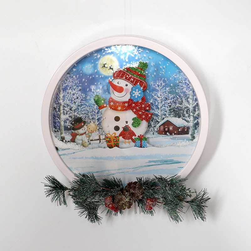 Christmas Party Home Decoration Snow Music Wreath Ornament Toys For Kids Children Gift