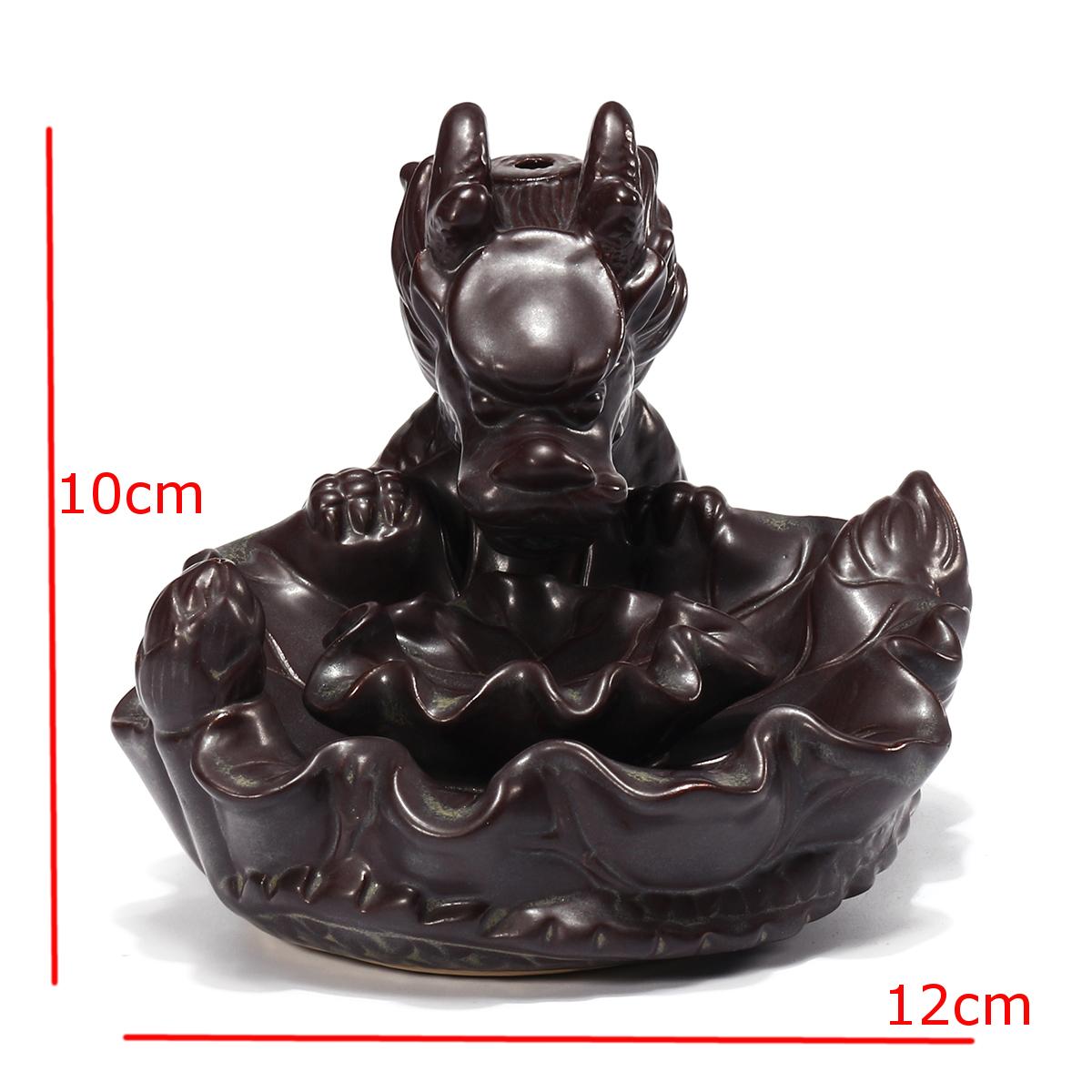 Ceramic Dragon Pond Backflow Incense Stick Burner Cones Holder Ash Catcher Fragrance Censer