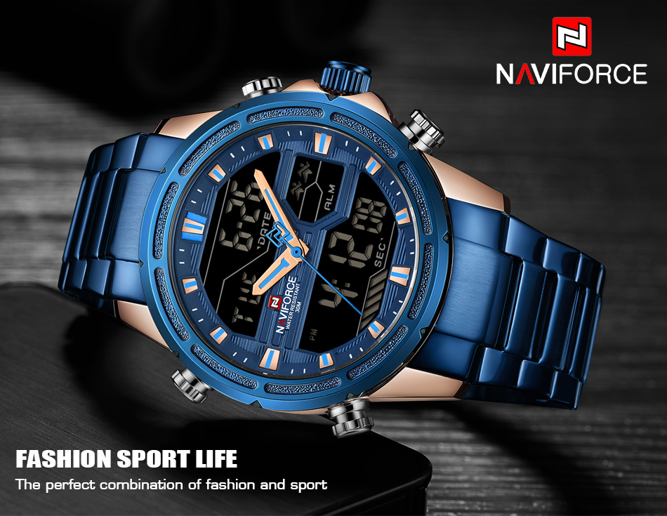NAVIFORCE 9138S Waterproof LED Dual Digital Watch