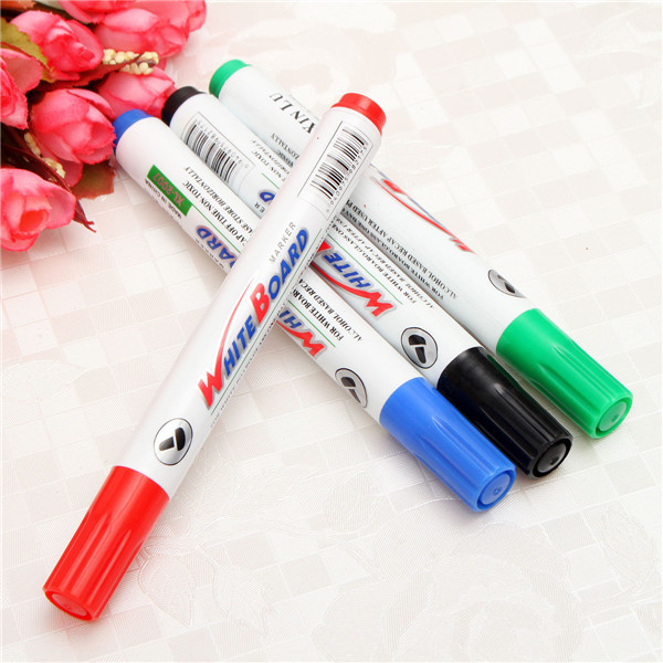 4 Color Set White Board Marker Pens White Board Dry-Erase Marker Fine 2mm Nib