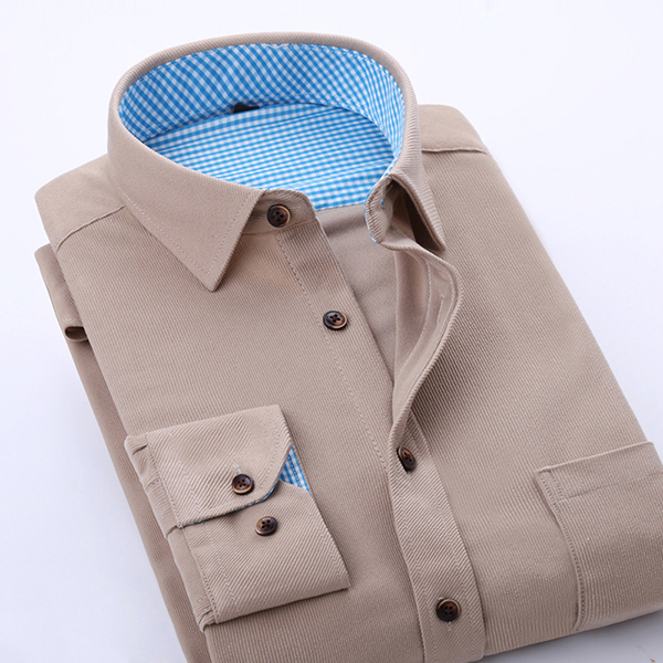 Multi-color Slim Fit Mens Corduroy Casual Business Shirt Long Sleeve Solid Color