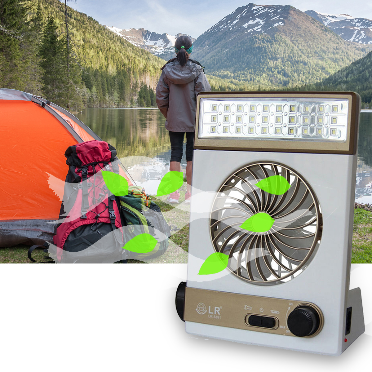 SUBUTE Fan Solar Camping Light LED Lamp Flashlight USB