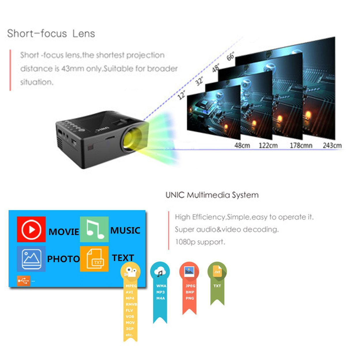 UNIC UC18 HD 400LM 1080P Mini LED Projector Multimedia Cinema USB TV HDMI Home Theater US