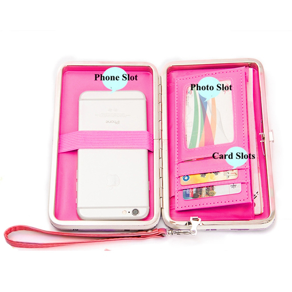 Women Candy Color Bowkot 5.5 Inch Phone Wallets Case Hasp Long Purse Clutches For Iphone Samsung