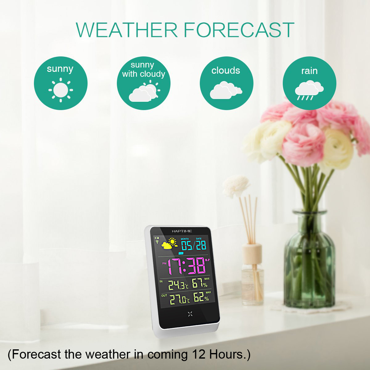 Bakeey HD Colorful Mini Weather Station Outdoor Indoor Thermometer Hygrometer Temperature Humidity