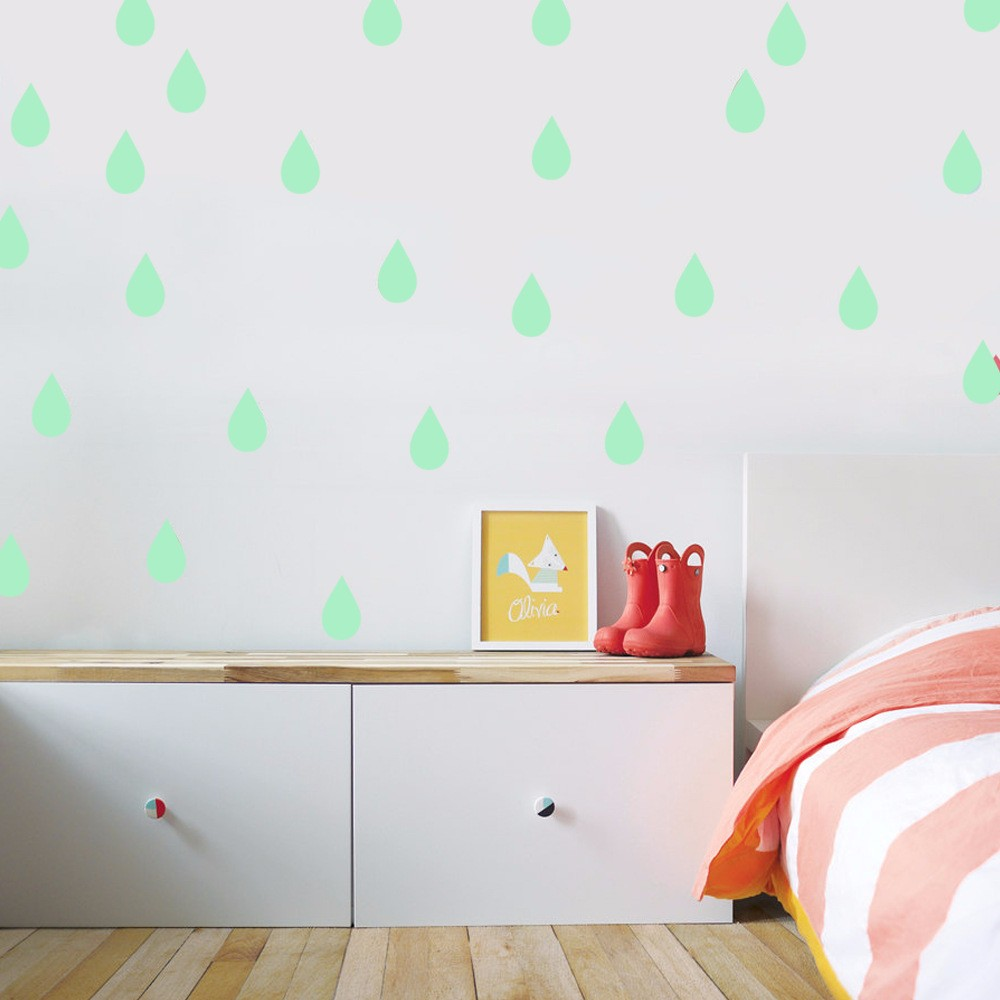 Honana DX-179 22PCS 4x6.5cm Fluorescent Glow Raindrop Water Drop Wall Sticker