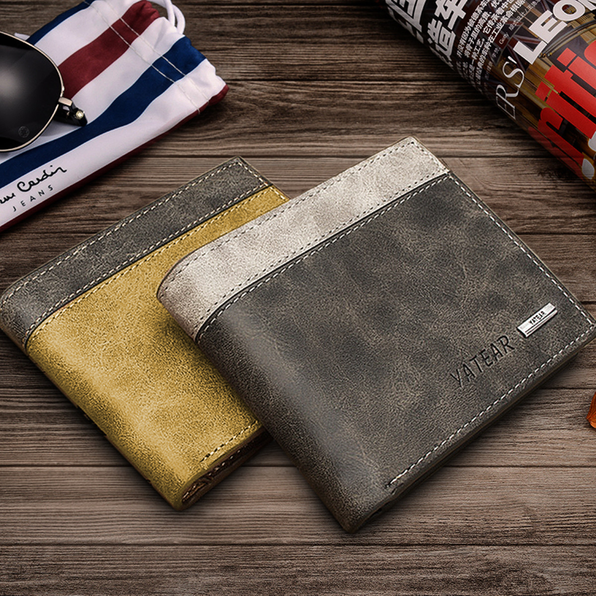 Men's PU Leather Bifold Wallet ID Business Credit Card Holde
