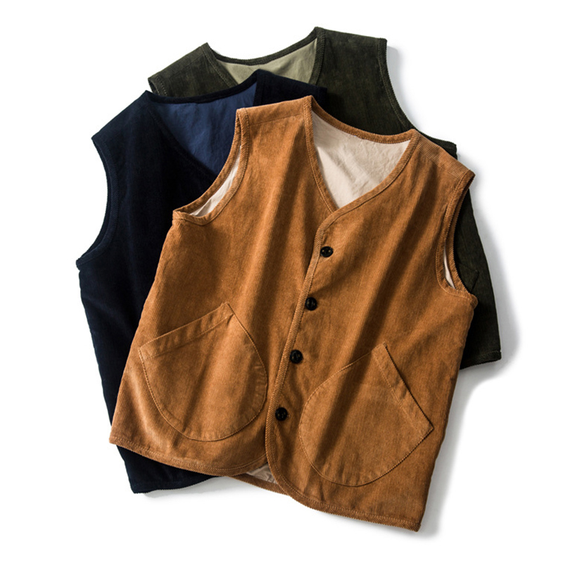 Men Single Breasted Corduroy Vintage Vest