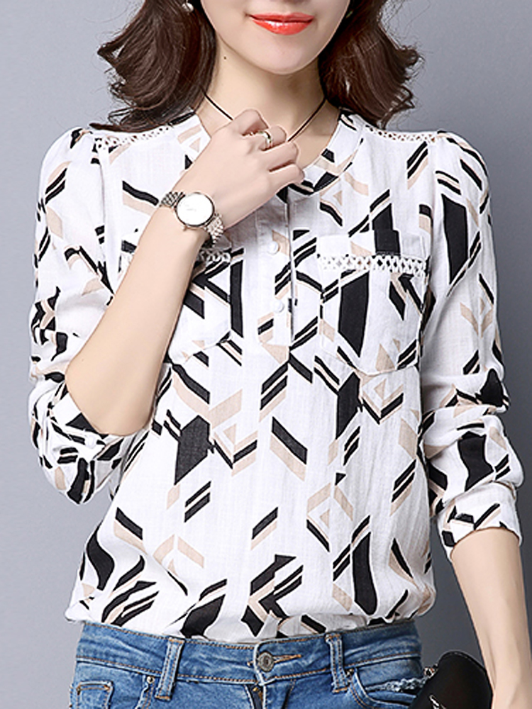 Casual Women Printing O-Neck Long Sleeve Slim Cotton Shirt