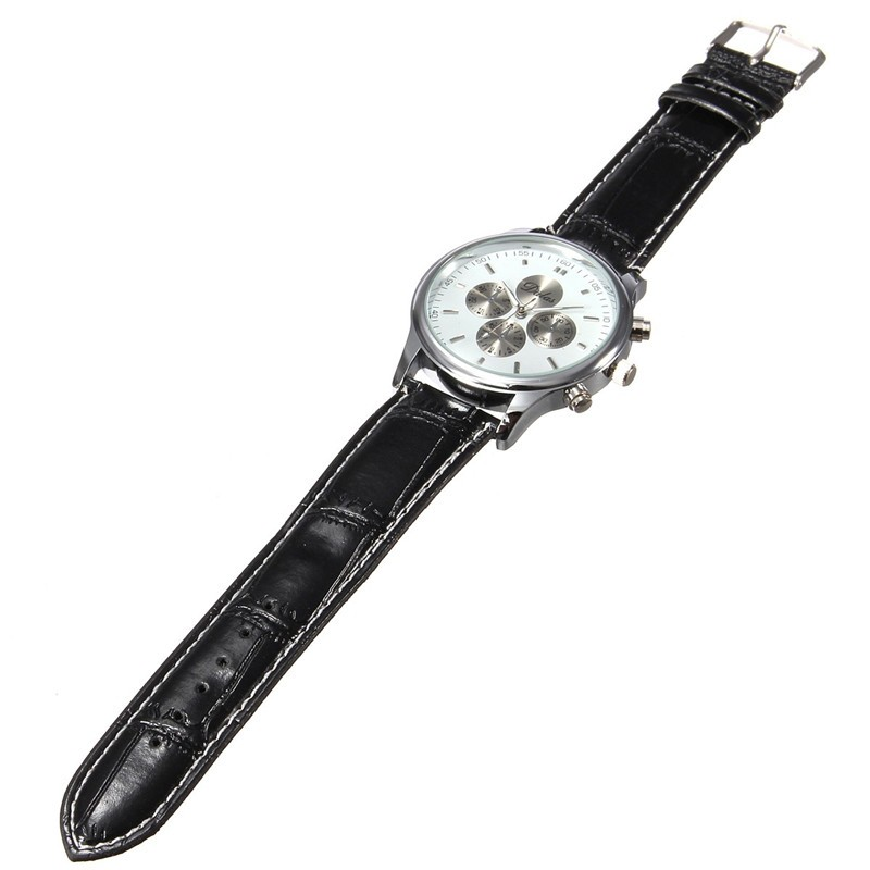 Casual Fashion Men Silver Color Case PU Leather Band Analog Quartz Wrist Watch