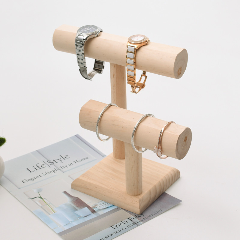 Wooden Tael layer Bangle Bracelet Display Stand Jewelry