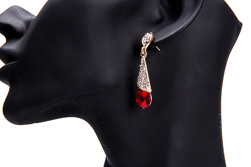 Elegant Rhinestone Ear Drop Retro Gemstone Dangle Earrings