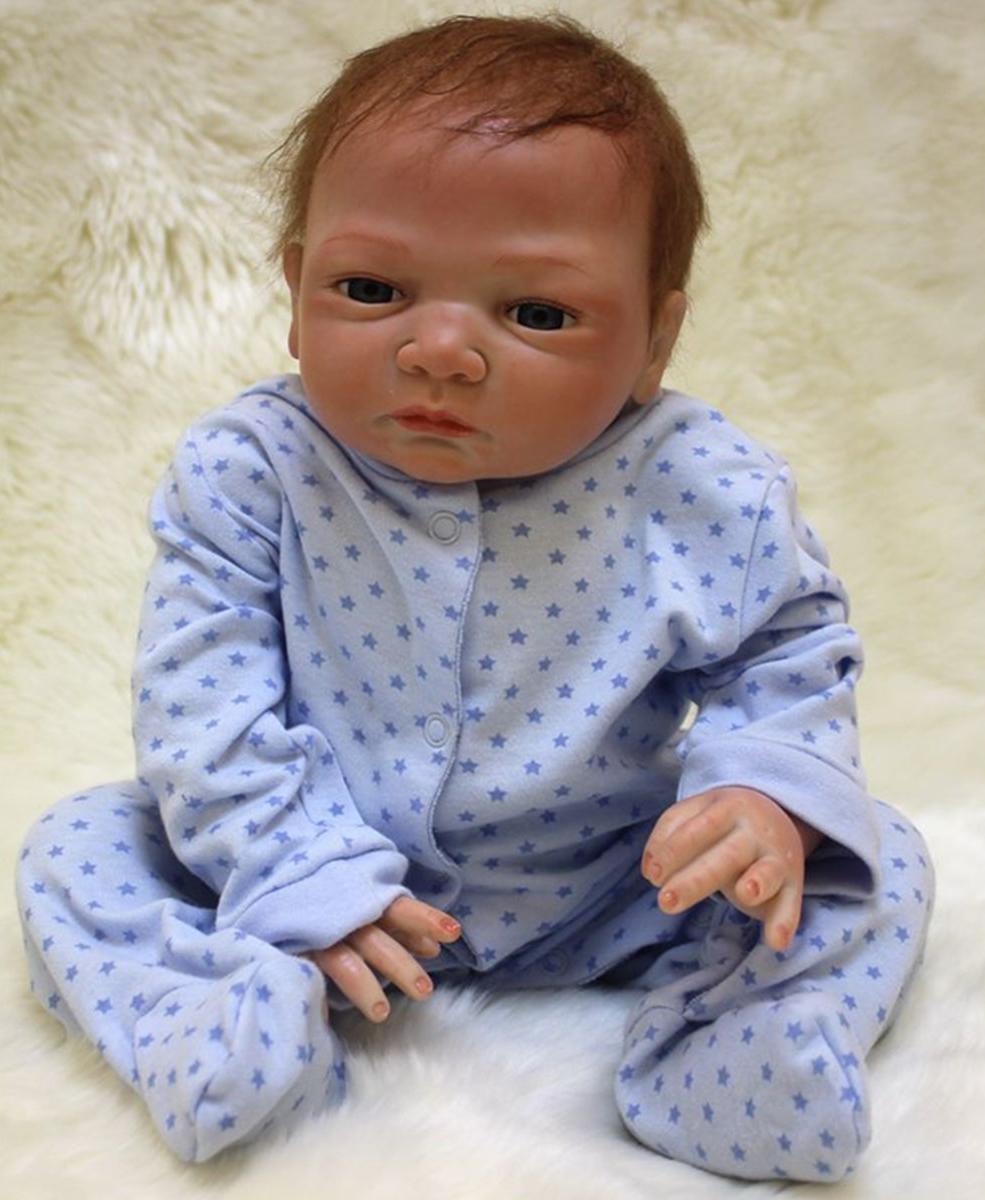 18'' African American Ethnic Lifelike Reborn Baby Doll Body Silicone Newbon Boy Toys