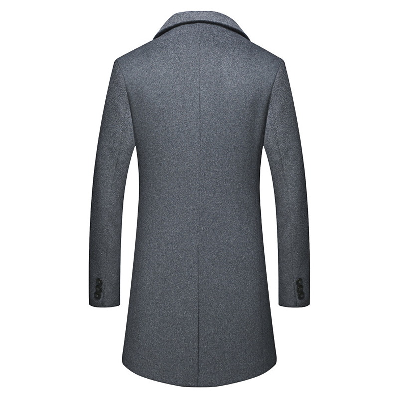 Men Winter Warm Cotton Padded Slim Mid Long Trench Coat