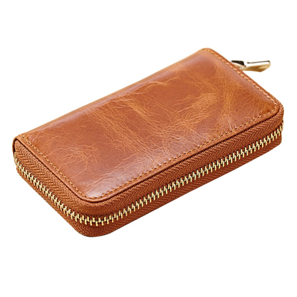 Women Genuine Leather Zipper Key Case Short Holder Retro Purse Bags