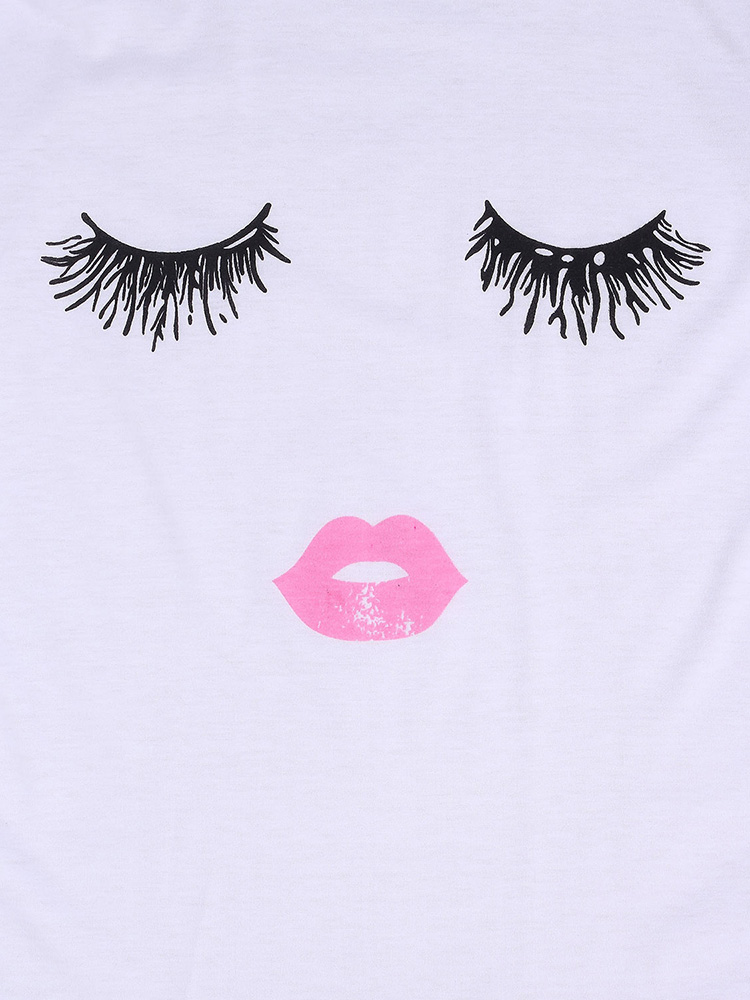 Plus Size Casual Loose White 3D Eyelash Lip Printed Women Cotton T-Shirt