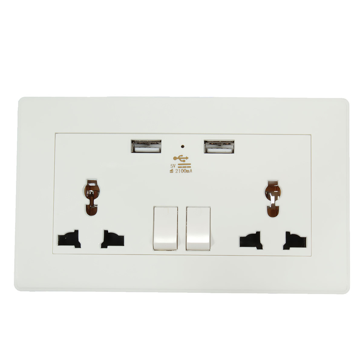 5V 2.1A Electric Dual Port USB Wall AC Power Socket Charger Station Outlet Adapter Plate