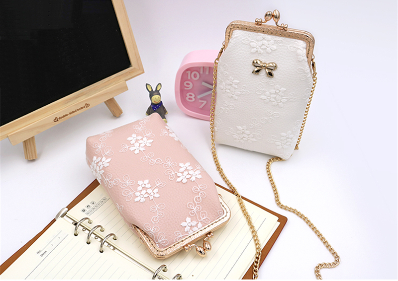Elegant Lace Bowknot Messenger Bag Clasp Purse Phone Wallet For Phone Under 5.5 Inches