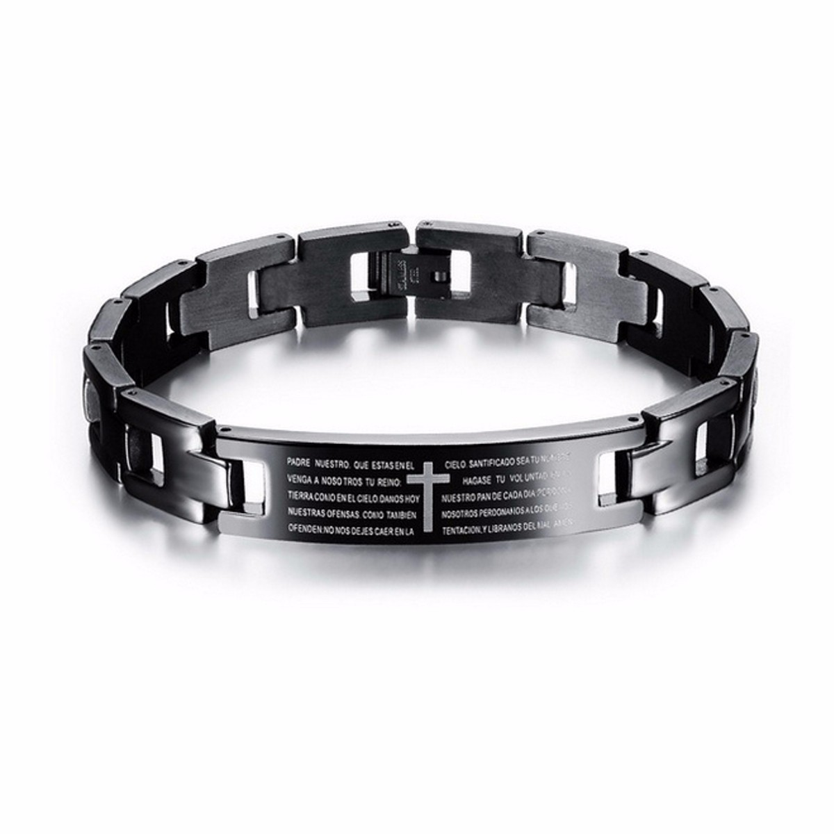 Cross Bible Black Titanium Men Magnet Bracelet Healing