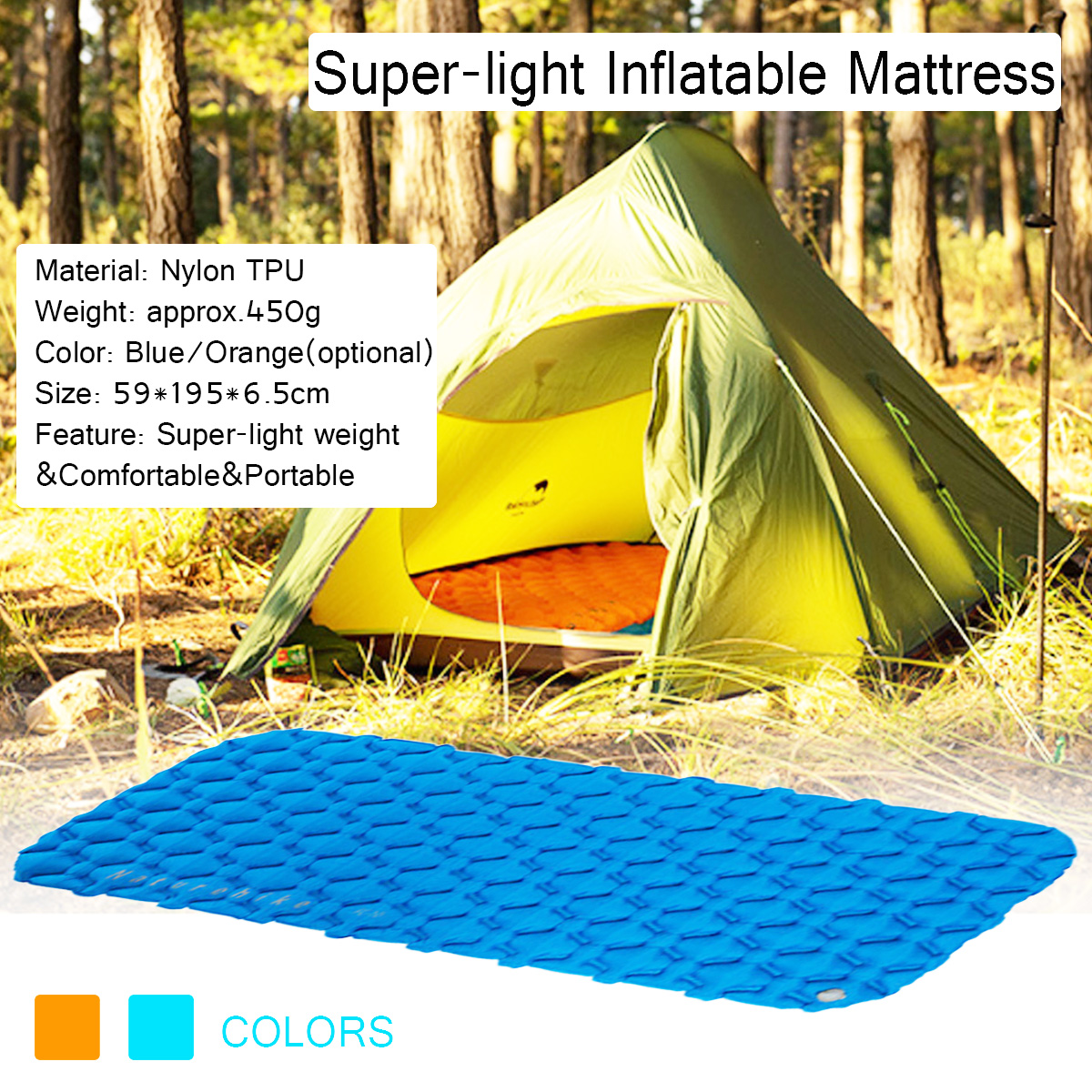Naturehike FC-10 Camping Tent Mat Single-person Thick Moisture-proof Ultra-light Bamboo Inflatable Air Mattresses
