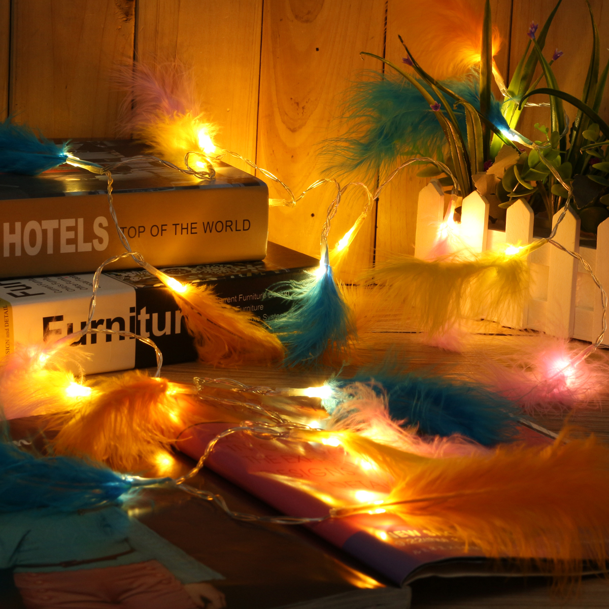 Battery Power 1.2M 2.2M Colorful Feather Fairy String Light Warm White Lamp Christmas Party Decor