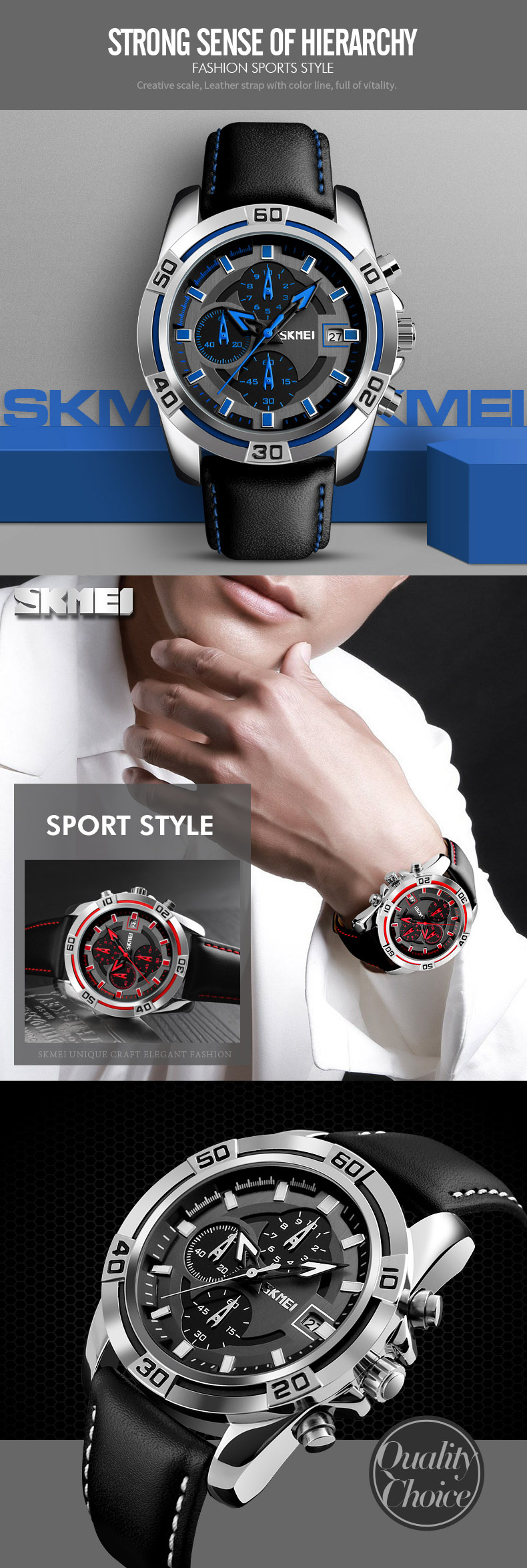 SKMEI 9156 Sport Watch Chronograph Leather Strap Waterproof Men Quartz Wrist Watch